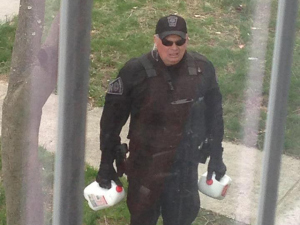 Boston police officer delivers milk during lock down