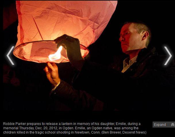 Robbie Parker lighting lantern in Utah