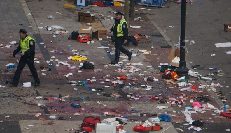 police walk through blood