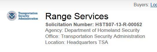 Requisition for TSA training range