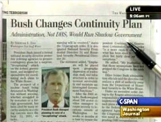 Bush changes continuity plan