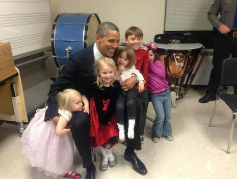 Obama with Sandy Hook girls