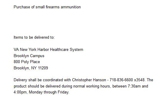 VA hospital requests ammo