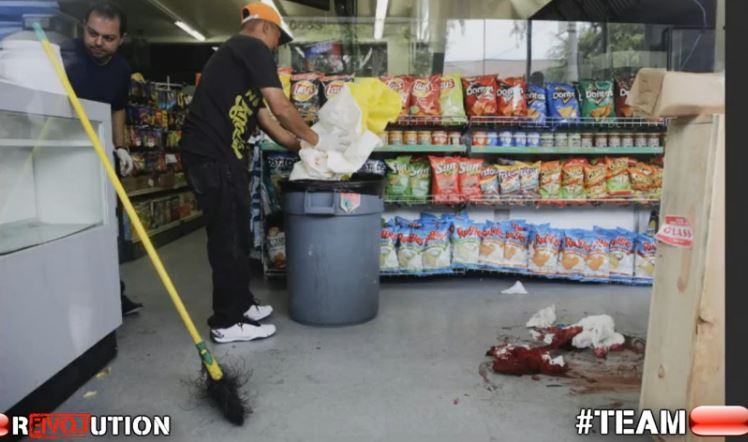 deli workers clean up crime scene